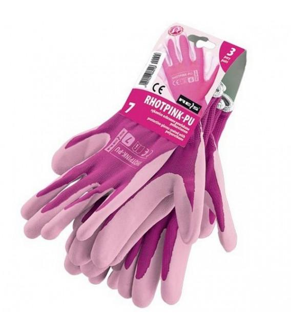 Rękawice ochronne wykonane z poliestru, powlekane poliuretanem RHOTPINK-PU