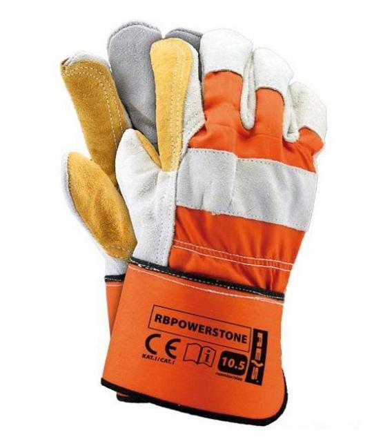 Rękawice ochronne wzmacniane skórą bydlęca RBPOWERSTONE
