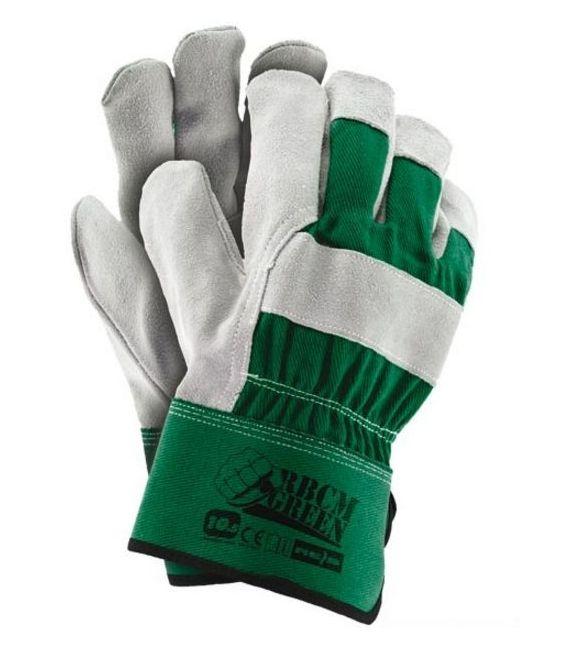 Rękawice ochronne wzmacniane wysokiej jakości skórą bydlęcą dwoinową RBCMGREEN