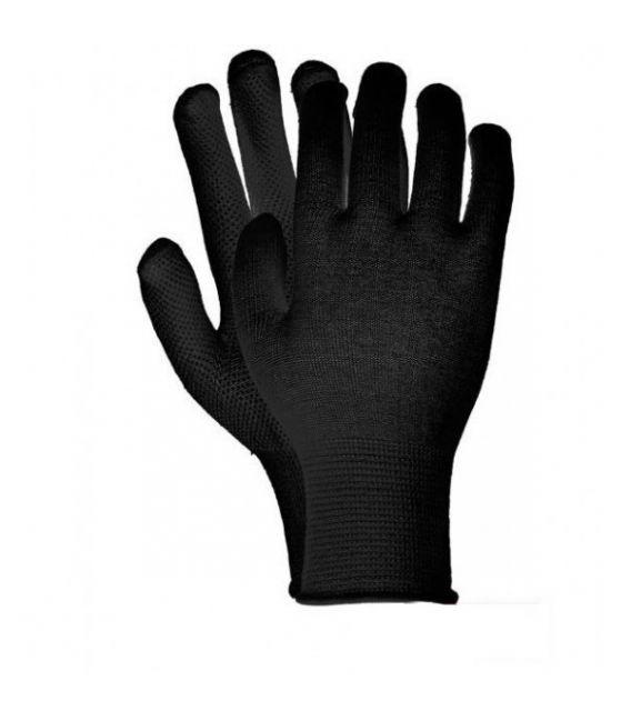 Rękawice dziane, RMICROLUX bawełna, czarna kropka