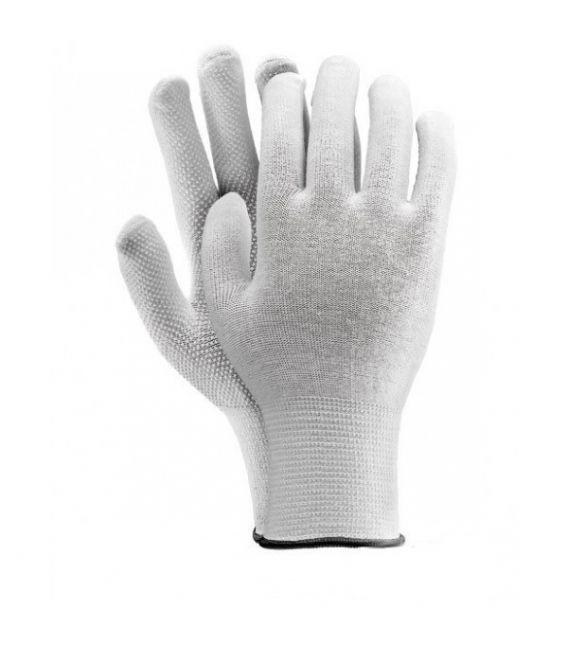 Rękawice dziane, RMICROLUX bawełna, biała kropka