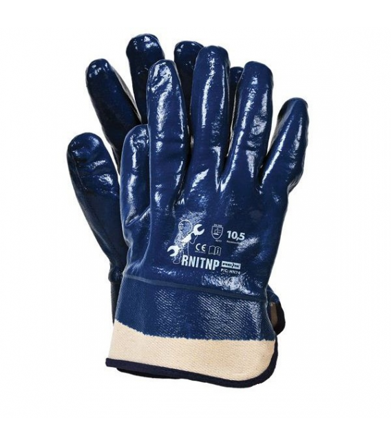 Rękawice ochronne powlekane, nitryl cieżki RNITNP rozm. 10 mankiet