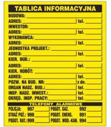 """Tablica budowlana """"Tablica informacyjna budowy"""" Z-TB1"""