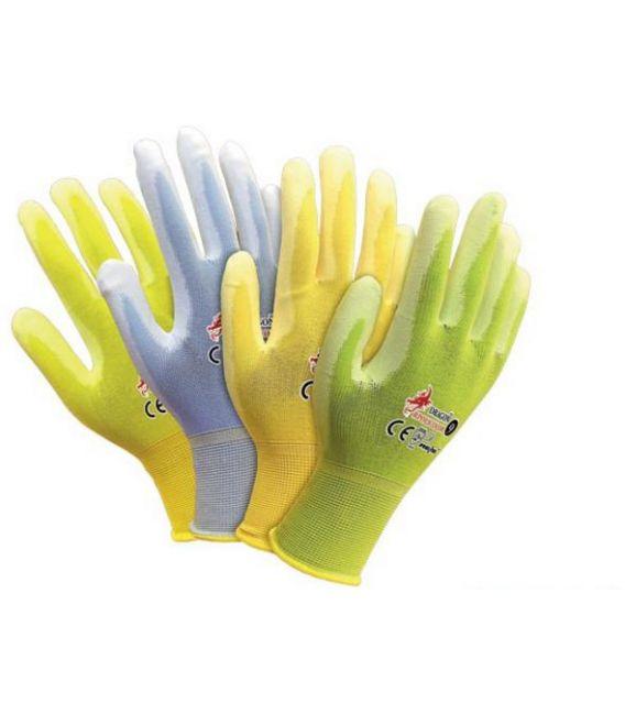 Rękawice wykonane z nylonu w jaskrawych kolorach powlekane poliuretanem RPOLICOLOR