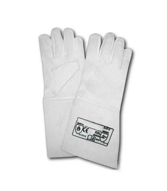 Rękawice skórzane długie typ. spawalnicze RSL rozm. 10, dł. 35 cm.