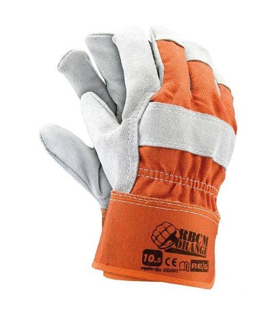 Rękawice ochronne wzmacniane wysokiej jakości skórą bydlęcą dwoinową RBCMORANGE