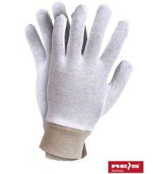 Rękawice dziane bawełniane biało beżowe ze ściągaczem RWKSB