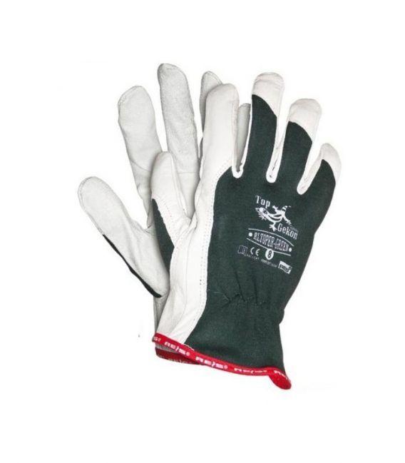 Rękawice wzmacniane skórą, licową kozią RLTOPER-GREEN
