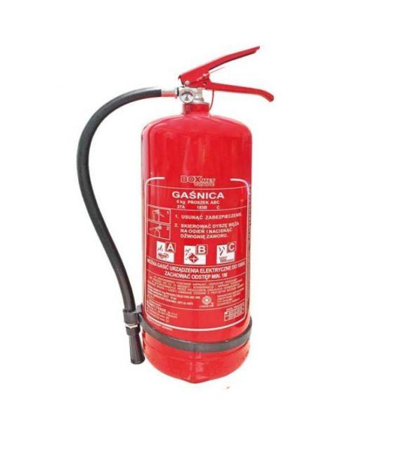 Gaśnica proszkowa 6 kg z opaską przeznaczona do gaszenia pożarów grupy ABC BX-GP-6XABC-O