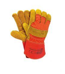 Rękawice ochronne wzmacniane skórą bydlęcą REDGOLD-LONG