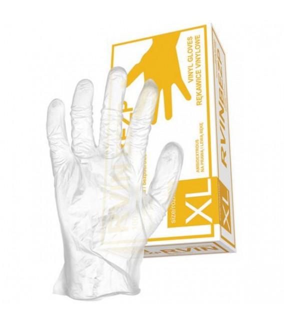 Rękawice medyczne winylowe - bezpudrowe RVIN-BEZP 8%
