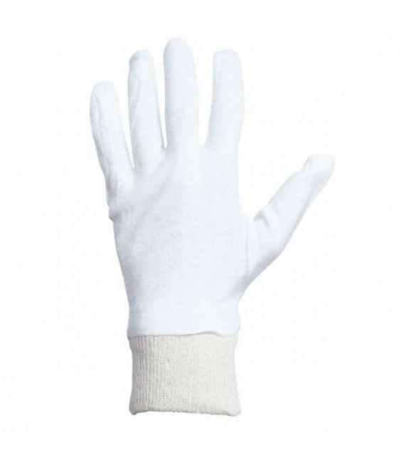 Rękawice bawełniane biało beżowe ze ściągaczem RWKSB