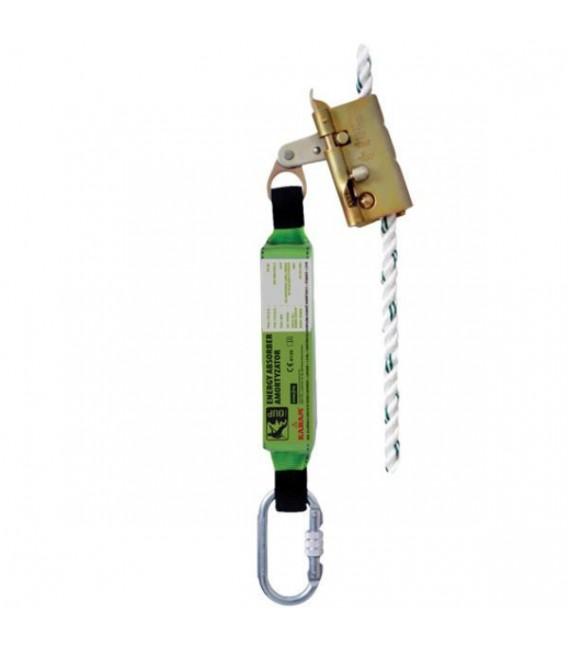 Urządzenie samozaciskowe z giętką prowadnicą wyposażone w pochłaniacz energii OUP-KRM-FAB