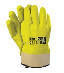Rękawice powlekane nitrylem, zakończone usztywnianym mankietem, fluorescencyjne RNIT-VIS 10